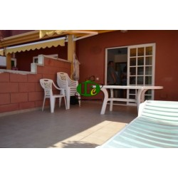 Duplex Bungalow with 1 bedroom. Large terrace, tiled and closed. Seating, sun loungers, awning