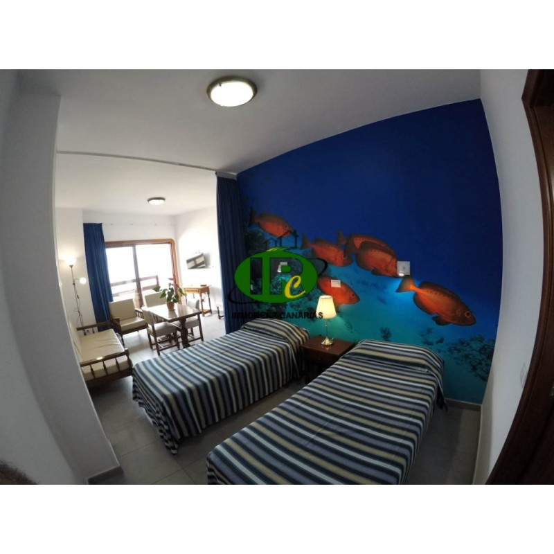 1 Bedroom Efficiency Apartments: One-Bedroom Apartment Studio With Balcony And Sea View